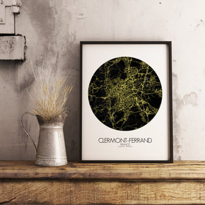 Mapospheres Clermont Night round shape design poster city map