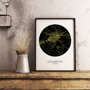 Mapospheres Cluj-Napoca Night round shape design poster city map