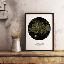 Load image into Gallery viewer, Mapospheres Cork Night round shape design poster city map