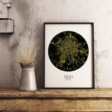 Load image into Gallery viewer, Mapospheres Dijon Night round shape design poster city map