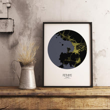 Load image into Gallery viewer, Mapospheres Fethiye Night round shape design poster city map