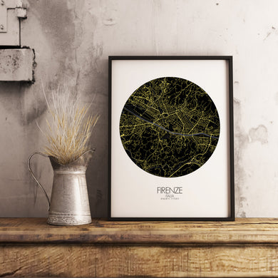 Mapospheres Florence Night round shape design poster city map