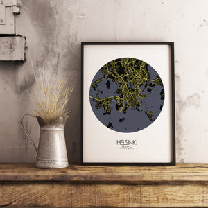 Mapospheres Helsinki Night round shape design poster city map