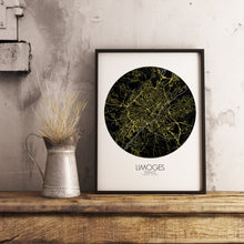 Load image into Gallery viewer, Mapospheres Limoges Night round shape design poster city map