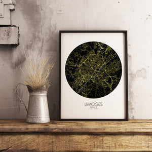 Mapospheres Limoges Night round shape design poster city map