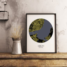 Load image into Gallery viewer, Mapospheres Lisbon Night round shape design poster city map