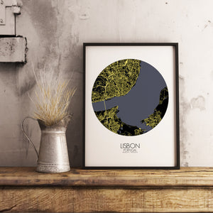 Mapospheres Lisbon Night round shape design poster city map