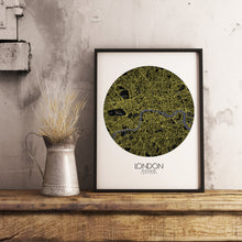 Load image into Gallery viewer, Mapospheres London Night round shape design poster city map