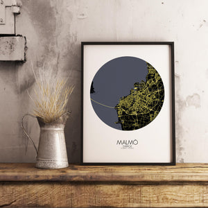 Mapospheres Malmo Night round shape design poster city map