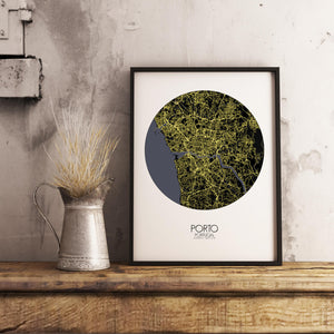 Mapospheres Porto Night round shape design poster city map