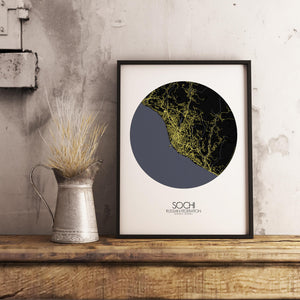 Mapospheres Sochi Night round shape design poster city map