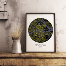 Load image into Gallery viewer, Mapospheres stockholm Night round shape design poster city map