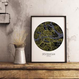 Mapospheres stockholm Night round shape design poster city map