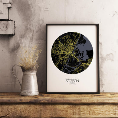 Mapospheres Szeczin Night round shape design poster city map
