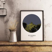 Load image into Gallery viewer, Mapospheres Trondheim Night round shape design poster city map