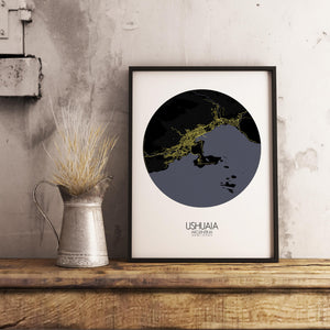 Mapospheres Ushuaia Night round shape design poster city map