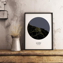 Load image into Gallery viewer, Mapospheres Whitby Night round shape design poster city map