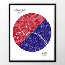 Load image into Gallery viewer, Krakow Paris Love Maps mapospheres