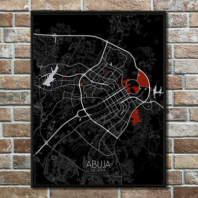 Mapospheres Abuja Red dark full page design poster city map