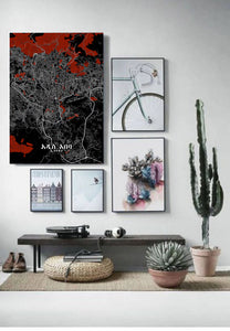 Mapospheres Addis Ababa Red dark full page design poster city map