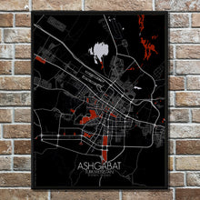 Load image into Gallery viewer, Mapospheres Ashgabat Red dark full page design poster city map
