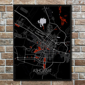 Mapospheres Ashgabat Red dark full page design poster city map