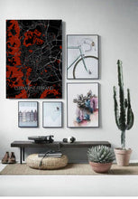 Load image into Gallery viewer, Mapospheres Clermont Red dark full page design poster city map