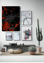 Load image into Gallery viewer, Mapospheres Cluj-Napoca Red dark full page design poster city map