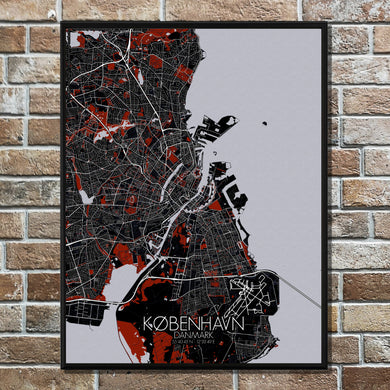 Mapospheres Copenhagen Red dark full page design poster city map
