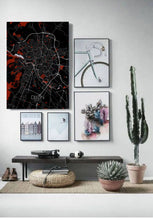 Load image into Gallery viewer, Mapospheres Dijon Red dark full page design poster city map