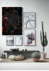 Mapospheres Dijon Red dark full page design poster city map