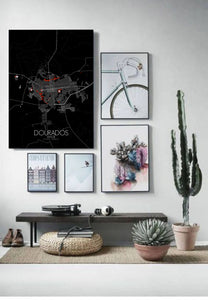 Mapospheres Dourados Red dark full page design poster city map