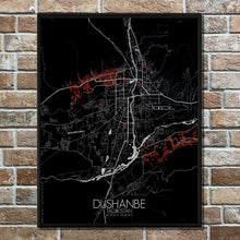 Load image into Gallery viewer, Mapospheres Dushanbe Red dark full page design poster city map