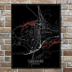 Mapospheres Dushanbe Red dark full page design poster city map