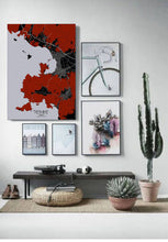 Load image into Gallery viewer, Mapospheres Fethiye Red dark full page design poster city map