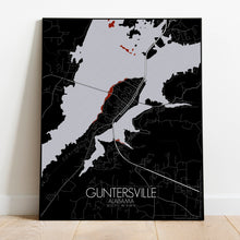 Load image into Gallery viewer, Mapospheres Guntersville Red dark full page design poster city map