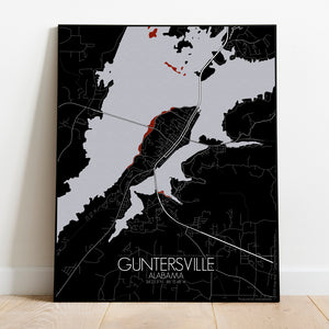 Mapospheres Guntersville Red dark full page design poster city map