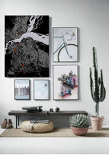 Load image into Gallery viewer, Mapospheres Kinshasa Red dark full page design poster city map