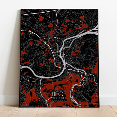 Mapospheres Liege Red dark full page design poster city map