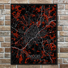 Load image into Gallery viewer, Mapospheres Limoges Red dark full page design poster city map