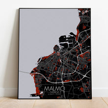 Load image into Gallery viewer, Mapospheres Malmo Red dark full page design poster city map