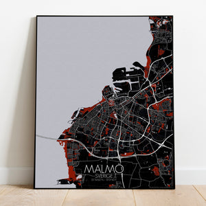 Mapospheres Malmo Red dark full page design poster city map