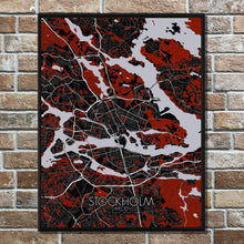 Load image into Gallery viewer, Mapospheres Stockholm Red dark full page design poster city map
