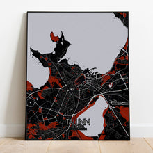 Load image into Gallery viewer, Mapospheres Tallinn Red dark full page design poster city map