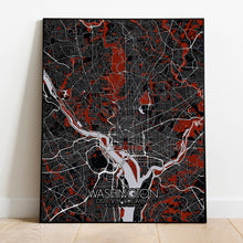 Load image into Gallery viewer, Mapospheres Washington Red dark full page design poster city map