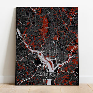 Mapospheres Washington Red dark full page design poster city map