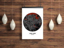 Load image into Gallery viewer, Mapospheres Addis Ababa Red dark round shape design poster city map
