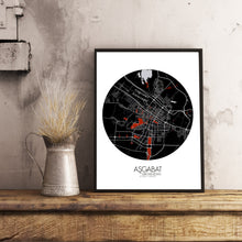 Load image into Gallery viewer, Mapospheres Ashgabat Red dark round shape design poster city map