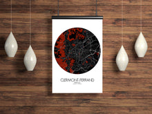 Load image into Gallery viewer, Mapospheres Clermont Red dark round shape design poster city map