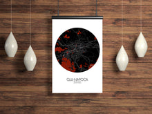 Load image into Gallery viewer, Mapospheres Cluj-Napoca Red dark round shape design poster city map